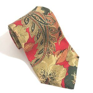 HUGO BOSS Silk Paisley Red Floral Neckwear Tie